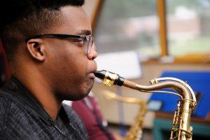 UA student practicing saxophone